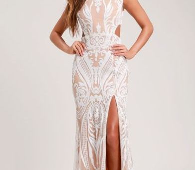 EMILY WHITE AND NUDE SEQUIN CUTOUT MAXI DRESS