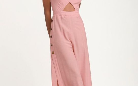 IMAGINE THAT MAUVE PINK TIE-BACK CUTOUT CULOTTE JUMPSUIT