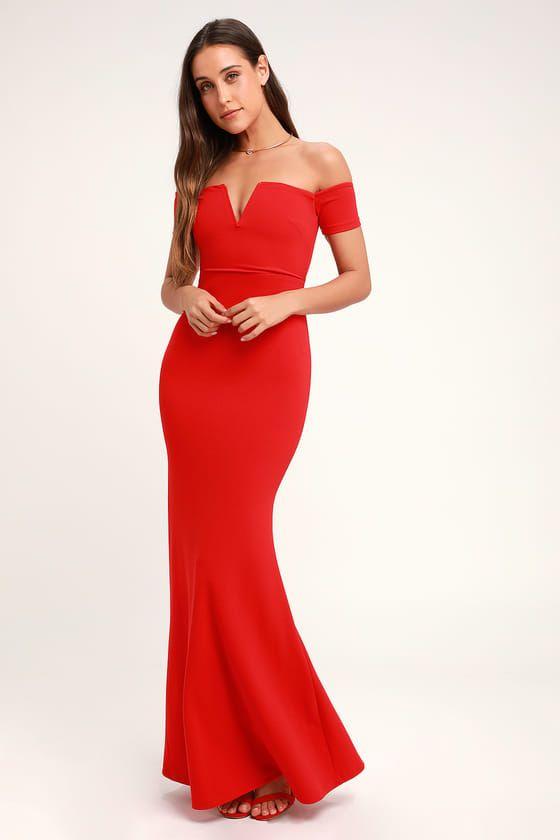 LYNNE RED OFF-THE-SHOULDER MAXI DRESS