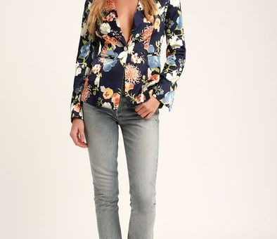 THINKING CHIC NAVY BLUE FLORAL PRINT SATIN BLAZER