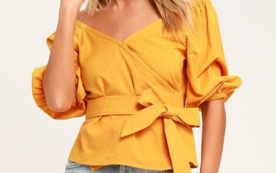 NEW LUST MUSTARD YELLOW WRAP TOP