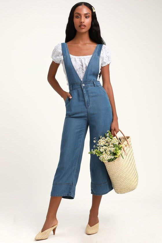 GOT YOU COVERED BLUE CHAMBRAY OVERALLS