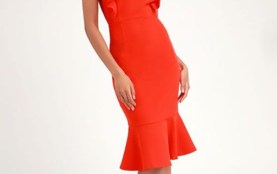 HEARTS AFLUTTER CORAL ORANGE RUFFLED BODYCON MIDI DRESS