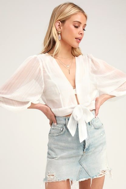IN THE BREEZE WHITE SHEER LONG SLEEVE TIE-FRONT TOP