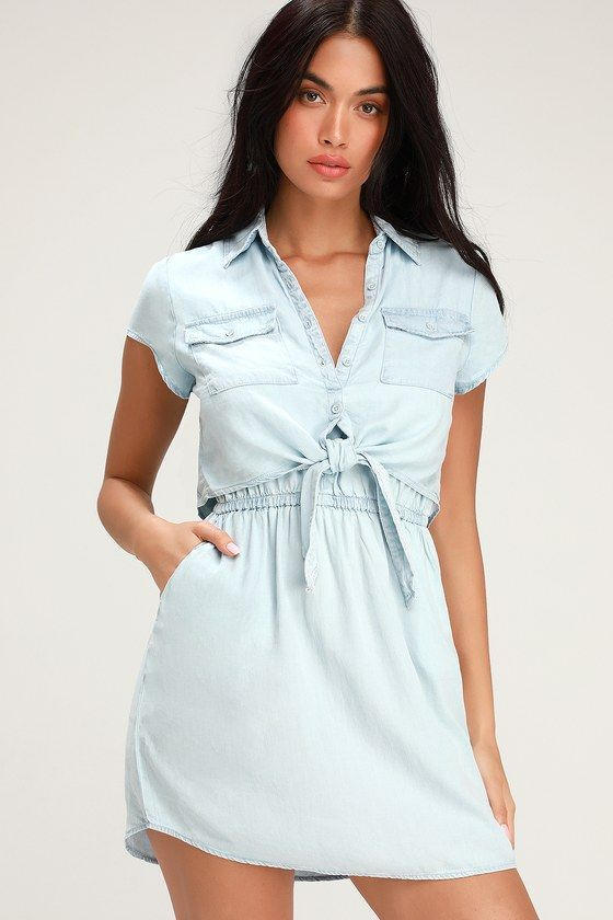 CHAMBRAY YOU STAY LIGHT BLUE TIE-FRONT MINI DRESS