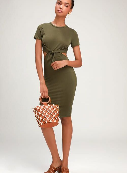 TATUM OLIVE GREEN TIE-FRONT CUTOUT DRESS