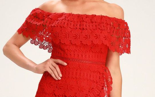FRILL AND GRACE RED LACE OFF-THE-SHOULDER DRESS