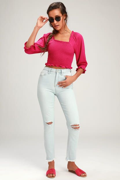BRENCYE PINK SMOCKED CROP TOP