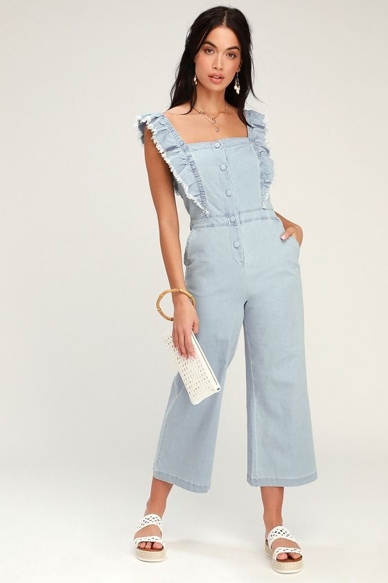 YES WAY LIGHT BLUE CHAMBRAY CULOTTE JUMPSUIT