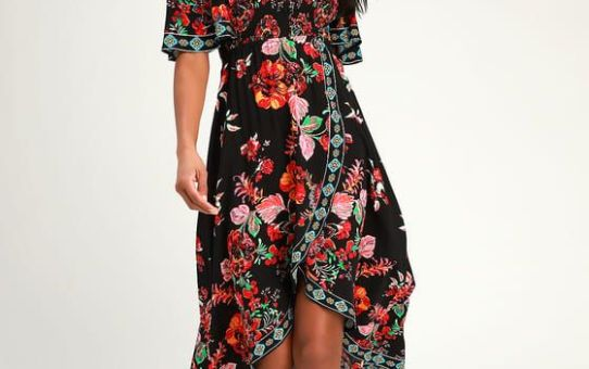 DANICA BLACK FLORAL PRINT SMOCKED HIGH-LOW MAXI DRESS