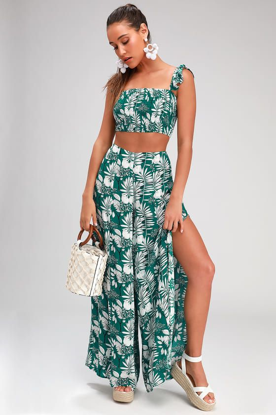 SOL MATES GREEN TROPICAL PRINT WIDE-LEG TWO-PIECE JUMPSUIT