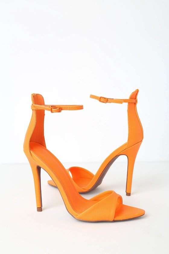 Leonie Neon Tangerine Ankle Strap Heels