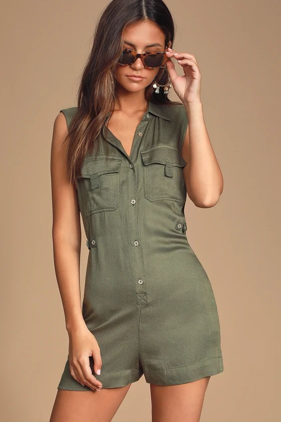WATSON OLIVE GREEN BUTTON-UP ROMPER