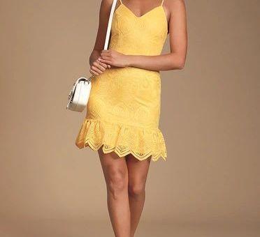 SHURA YELLOW EMBROIDERED SLEEVELESS DRESS