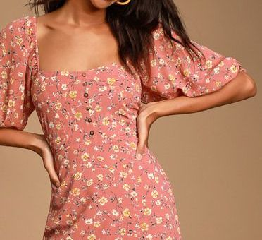 TRIXIEBELLE RUSTY ROSE FLORAL PRINT DRESS