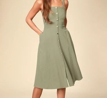 PIPPIE OLIVE GREEN BUTTON FRONT SLEEVELESS MIDI DRESS