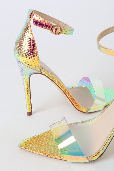 NYASIA IRIDESCENT SNAKE POINTED-TOE ANKLE STRAP HEELS