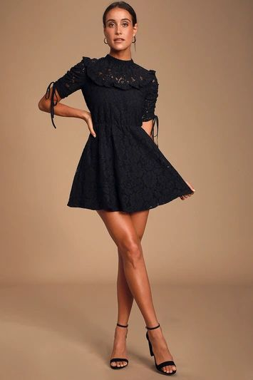AFTERGLOW BLACK LACE RUFFLED SKATER DRESS