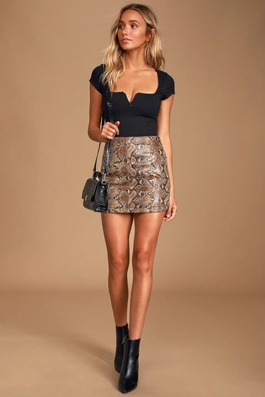 Wild Card Tan Snake Print Vegan Leather Mini Skirt
