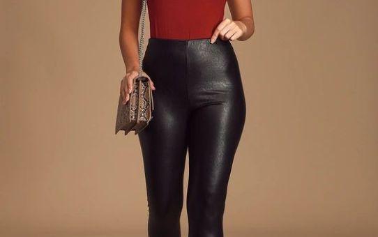 Ellianna Black Vegan Leather High-Waisted Leggings