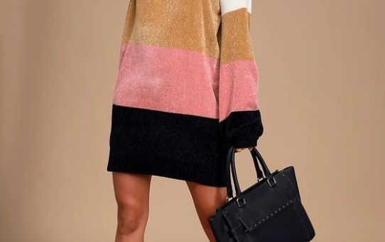 Call it Even Ivory Multi Color Block Chenille Sweater Dress
