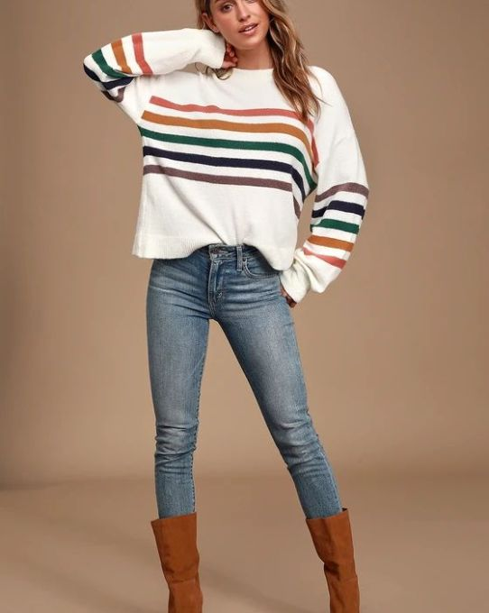 Heart to Heart Ivory Multi Striped Sweater