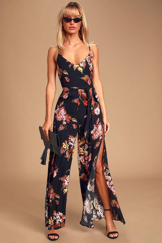 Beautiful People Black Floral Print Sleeveless Wide-Leg Jumpsuit
