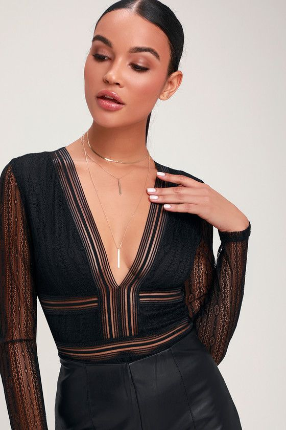 Casita Black Sheer Lace Long Sleeve Bodysuit