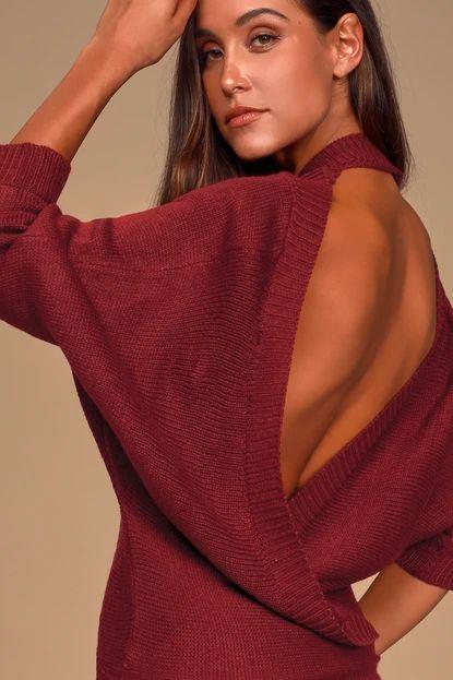 Heartfelt Find Burgundy Surplice Backless Sweater