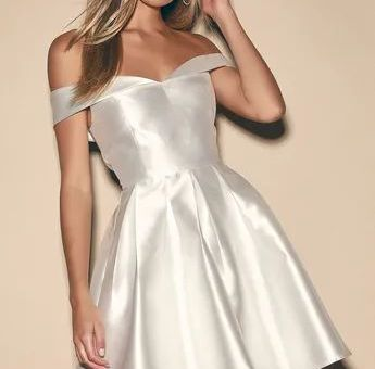 My Shining Moment Ivory Off-the-Shoulder Skater Dress