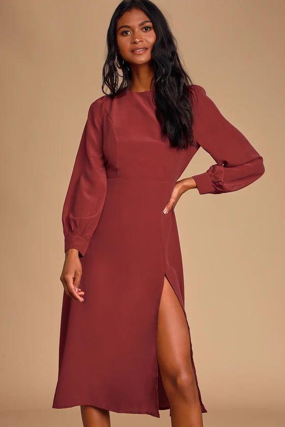Alemenda Burgundy Backless Long Sleeve Midi Dress
