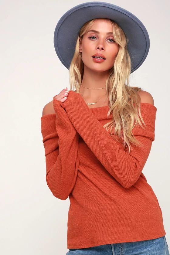 Austra Orange Off-the-Shoulder Knit Sweater Top