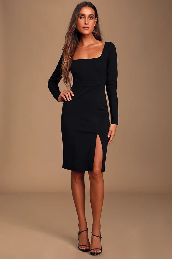 Style and Sass Black Square Neck Long Sleeve Bodycon Dress