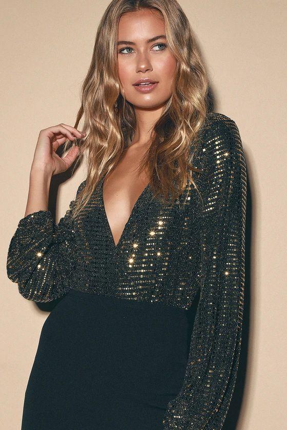 I'm Your Girl Gold Metallic Long Sleeve Bodysuit