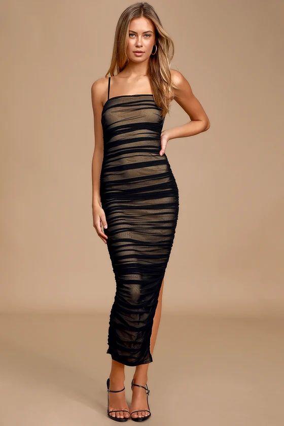 Amazed By You Black Ruched Sleeveless Bodycon Midi Dress
