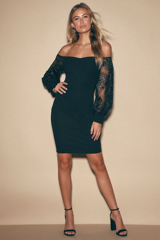Mesmerize You Black Embroidered Sequin Off-the-Shoulder Dress