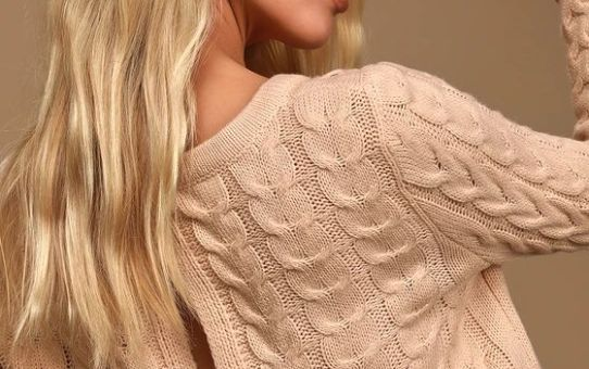 Tenderhearted Blush Cable Knit Tie-Back Sweater