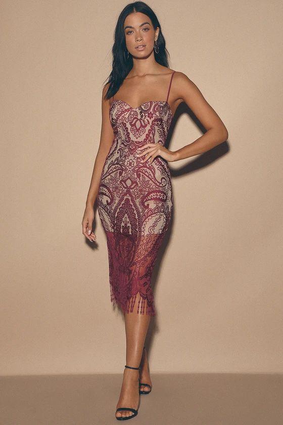 Love Myself Burgundy Lace Bustier Midi Dress