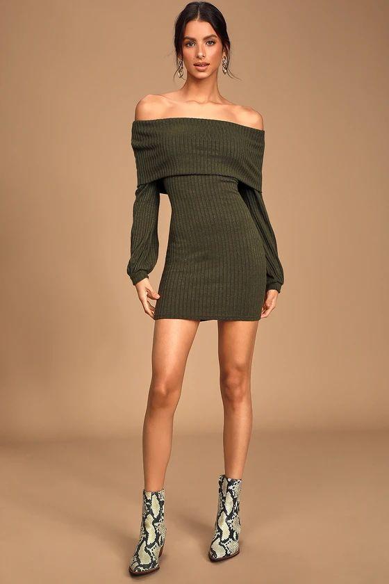 Black Friday Sale- She's A Go-Getter Olive Green Off-the-Shoulder Sweater Dress