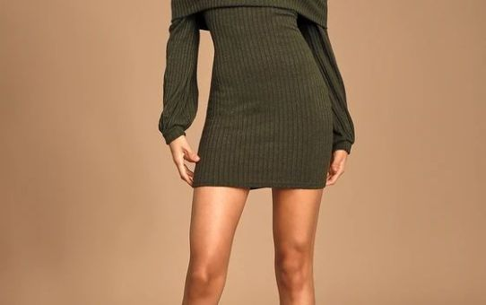 Black Friday Sale- She's A Go-Getter Olive Green Off-the-Shoulder Sweater Dress