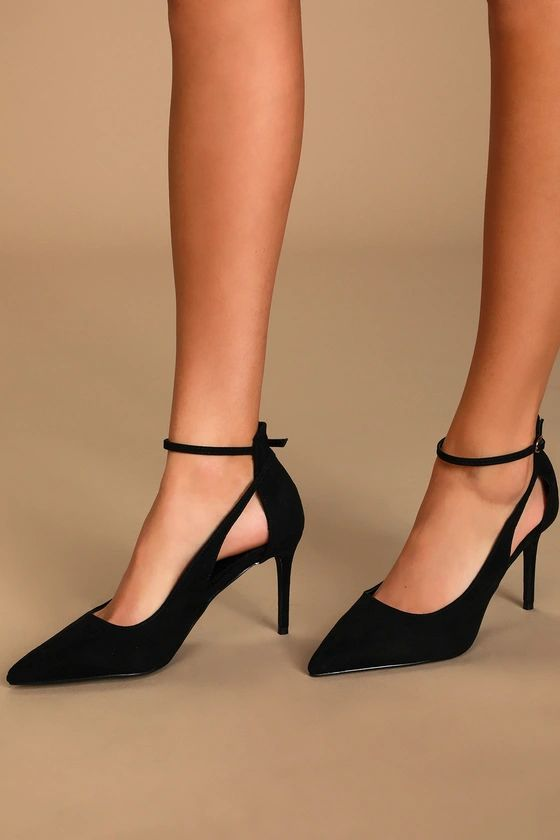 Deacon Black Suede Pointed-Toe Ankle Strap Heels