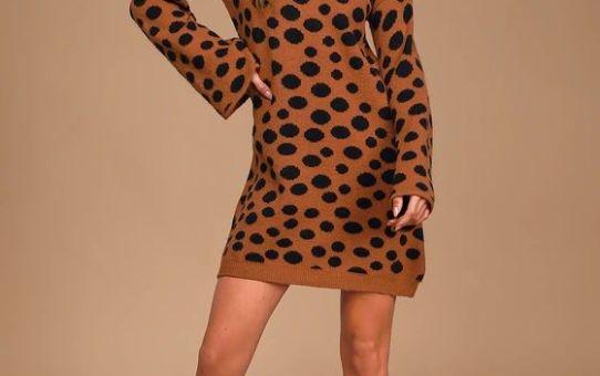 Aspire to Inspire Rust Brown Polka Dot Sweater Dress