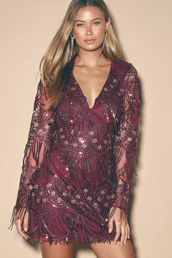 Glitzy Glam Magenta and Gold Sequin Fringe Long Sleeve Dress
