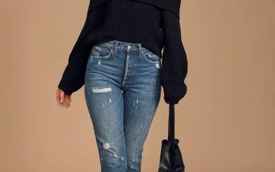 Carmichael Black Off-the-Shoulder Knit Sweater