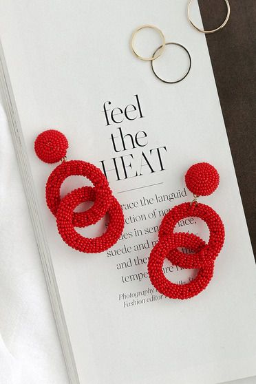 Beadwork It Red Beaded Statement Earrings