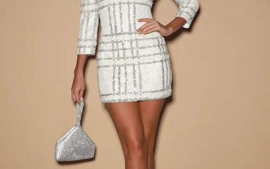 New Wonder White Sequin Lace Mini Dress