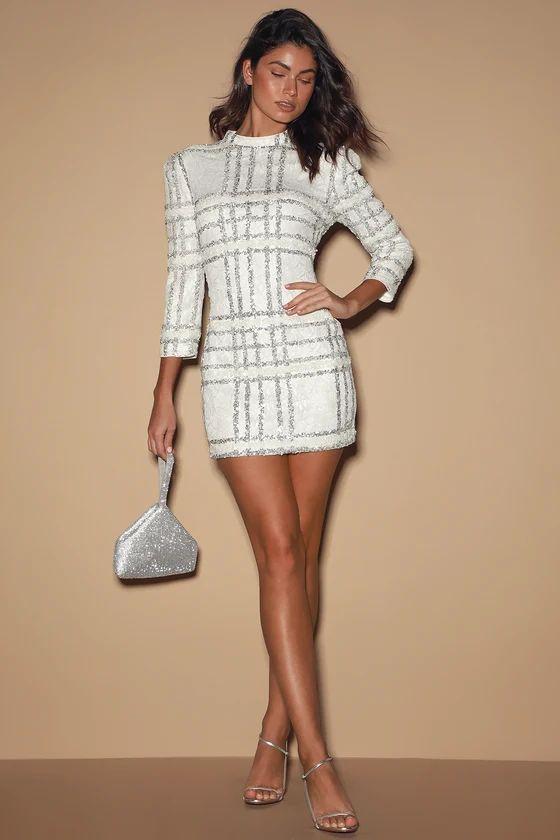 New Wonder White Sequin Lace Mini Dress