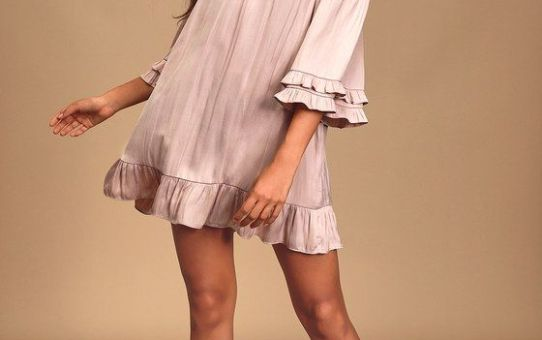 Dazzling Experience Mauve Satin Off-The-Shoulder Swing Dress