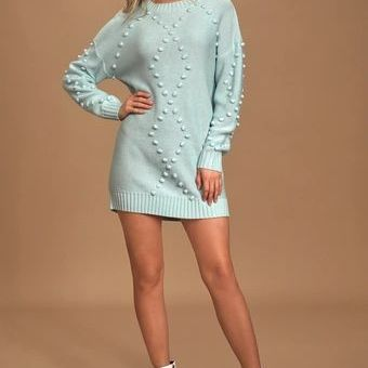 Pom Reader Light Blue Knit Pom Pom Mini Sweater Dress