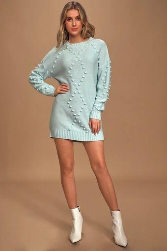 Pom Reader Light Blue Knit Pom Pom Mini Sweater Dress